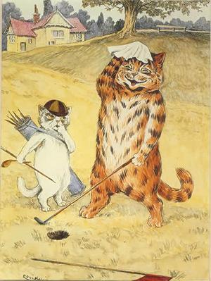 Louis Wains katter tar sig gärna en golfrunda.