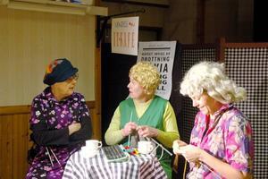 SYJUNTA. Stickning, skvaller och kontroverser på Vendels it-café. Britt-Marie Carlberg, Inga Jönsson och Marit Lundqvist Reyes spelar fingerfärdiga damer.