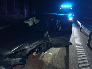 Bilen som var inblandad fick plåtskador men inga personer skadades i olyckan.