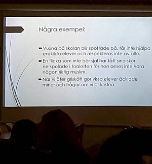 På föräldramötet fick åhörarna flera exempel på situationer som uppstått på Borlängeskolan.