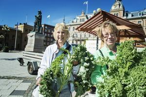 Catarina Lillieroth och Helga Bartels köpte den sista kravmärkta grönkålen.