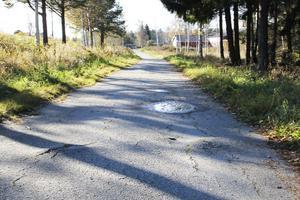 Rejäla gupp och fördjupningar där regnvattnet blir stående. Det här är den slitna och dåligt underhållna gång- och cykelvägen mellan bostadsområdena Skytten och Norrberget.