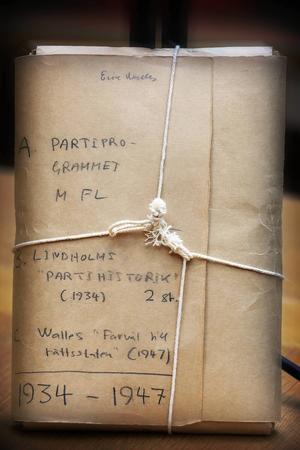 I en anspråkslös folder i gråpapper, hopknuten med ett snöre vilar en del av den svenska nazismens historia i dag i Riksarkivets katakomber.