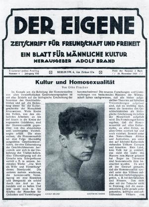 Der Eigene var världens första tidskrift för homosexuella.