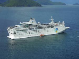 Det här är fartyget som ägaren vill härbärgera flyktingar på.