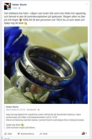 Nu söker Helen Storm och hennes man den person som hittade ringen för att få tacka.