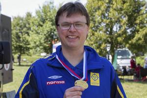 Så här såg det ut vid EM i Slovenien 2015. Emil Martinsson har tagit ett nytt guld, denna gång i regelbundnan lopp över 50-meter.