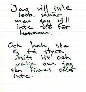 Ur Tova Mobergs dagbok. Foto: Polisens förundersökning.