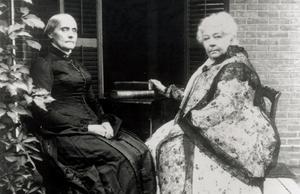 Susan B. Anthony till vänster och Elizabeth Cady Stanton till höger.