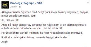 Brobergs tifogrupp skrev ett hotfullt inlägg på Facebook efter att de fick reda på åklagarens beslut att stänga av fem personer.