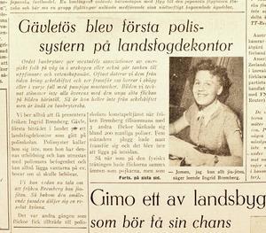 TIDNINGSKLIPP. Ingrid Bremberg hamnade på Arbetarbladets första sida den 6 juli 1950 under rubriken