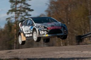 Richard Göransson under rallycrosstestet i Strängnäs.