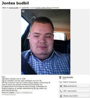 Jontes annons på Blocket som fått en hel del gensvar och spridits på Facebook.
