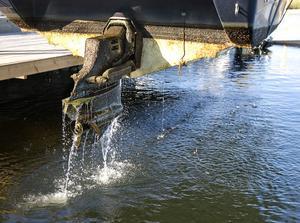 Här kommer den upp, med sommarens alla avlagringar i skilda skikt nedanför vattenlinjen.