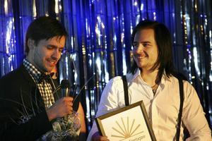 Årets unga företagare blev Pappa Tak AB, Robin Widenius och Henrik Jörebo.