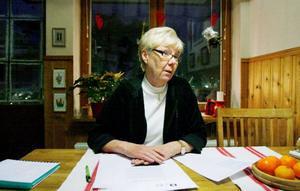 """Inger Breil är pensionär sedan 2006  och en av många som är upprörd över sänkningen av pensionen. """"Jag tror att jag och min man får cirka 300 kronor mindre vardera i månaden i pension. Vi har kanske inte de lägsta pensionerna så vi kommer att klara oss bra ändå. Men ett par hundralappar mindre i månaden är mycket för en del"""", säger hon.    Foto: Henrik Flygare"""