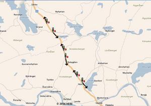 Karta över de sex nya fartkamerorna mellan Vika och Uppbo.Bild: Trafikverket.