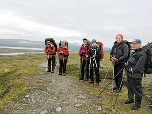 Sju medlemmar från STF Höga Kusten deltog i fjällvandringen längs Norra Padjelantaleden.