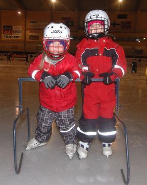 Mikaela Hedin och Lina Ottosson heter de här två isprinsessorna från Notens förskola som tog skridskomärket i bandyarenan.
