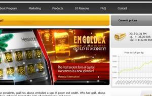 Emgoldex internationella webbsida.