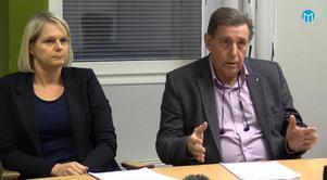 Styrelseordförande Björn Brink (C) och tillförordnade vd:n Lena Bergsten släppte nyheter om Östernäshuset på en presskonferens.