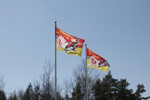 Flaggorna vajar i Parken inför tisdagens elitseriepremiär.