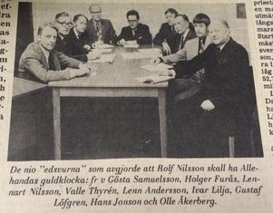 De nio ledamöterna i 1971 års guldklockejury.