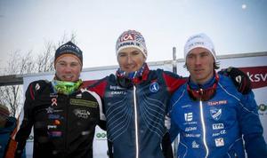 Gustav Eriksson, Teodor Peterson och Simon Larsson fick kliva upp på pallen efter herrarnas sprintlopp.