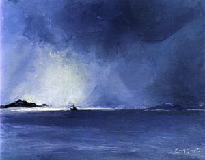 Båt vid Malströmmen, oljemålning 1980.