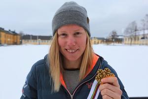 Sandra Näslund efter VM–guldet.