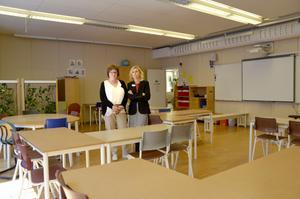 Yvonne Sahlen, biträdande rektor, och Johanna Örnehag, rektor på Skönsmons skola, är besvikna över att bygget stoppats.