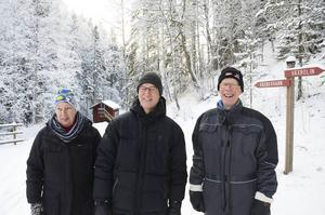 Lillian Larsson, Torsten Sjöström och Lars-Åke Perers från föreningen Trolldalen, som bildades i vintras. I sommar hoppas de kunna fortsätta renoveringen av Trolldalen.