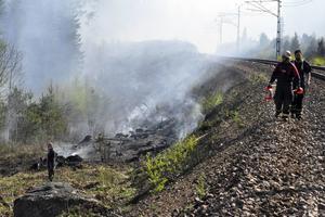 Brand längs banvallen norr om Horndal i maj 2016.