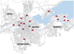 Markeringarna på kartan visar var tyfonerna är placerade.