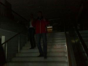 I Punktgallerian blev det mörkt under strömavbrottet.
