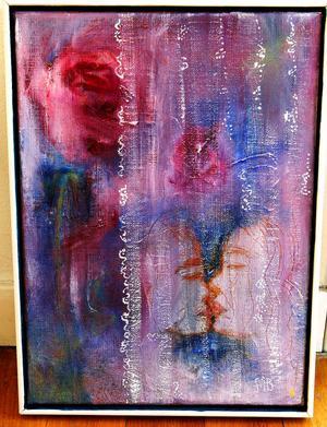Bakom tyllhöljet på Mildred Björkmans målning tonar ett kärlekspar fram.