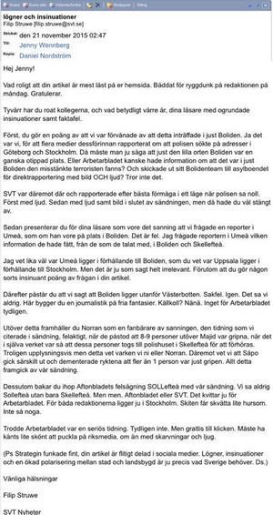 Skärmdump på mailet från Filip Struwe i sin helhet.