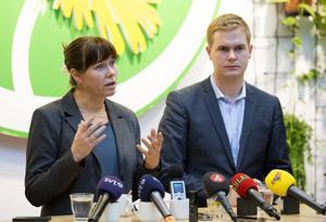 Tar från höger. Miljöpartiet med språkrören Åsa Romson och Gustav Fridolin har förlorat väljare åt vänster, men vunnit från höger.                 Foto: Roger Vikström/TT