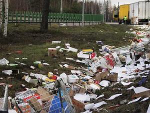 Fågelmat? Maten som fanns i lastbilen hamnade i diket.