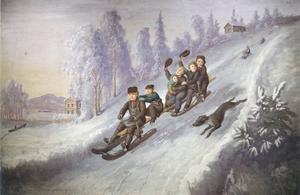 """Kälkåkande barn ur sviten """"Scenerier i Målningar"""". Limfärg på duk. Osignerad, odaterad, 1860-talets slut. Landstinget Gävleborg."""