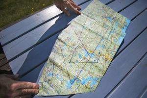 Dagens flygrutt utritad på en karta. Gävle via Hofors upp mot Mohed utanför Söderhamn, därefter åter till Gävle.
