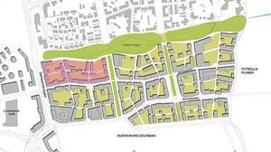 Här är en skiss över de 2000 lägenheter som ska byggas i södra Ladugårdsängen.