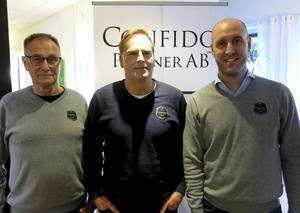 Lennart Karlsson, Magnus Leijon och Stefan Andersson, tre av fyra tjänstemän på kontoret, som ansvarar för Confidos verksamhet.