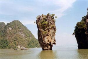 Vacker vy från Janes Bond Island. Närmast den vackra kalkstensklippan som här är ett klassiskt motiv.