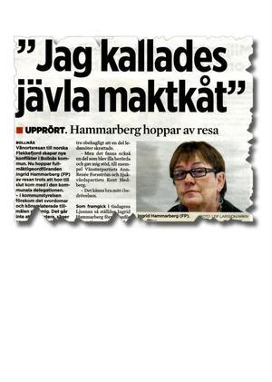 Ingrid Hammarberg hoppade av delegationen till Flekkefjord efter angreppet från Ingvar Persson.