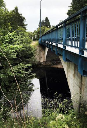 Mannen misstänks ha knuffats från den här bron ned i ån.