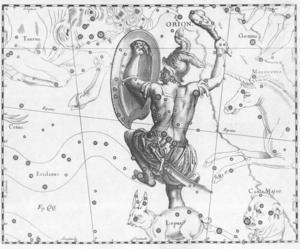 Den polske astronomen Johannes Hevelius gestaltar Orions stjärnbild på det här lekfulla viset i slutet av 1600-talet.