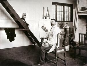 Carl Larsson i sin ateljé i Sundborn 1903.
