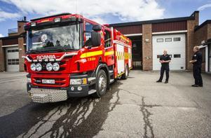 Den nya brandbil som levererades till Färila igår kväll.