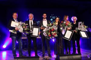 Alla vinnare på Silverglans 2017, från vänster: Magnus Andersson, Olle Nilsson. Sebastian Niemi Carlsson, Linnea Seidel, Lotta Andersson och Lisbeth Byström.